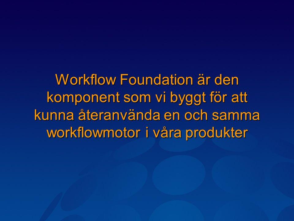 Workflow Foundation är den komponent som vi byggt för att kunna återanvända en och samma workflowmotor i våra produkter
