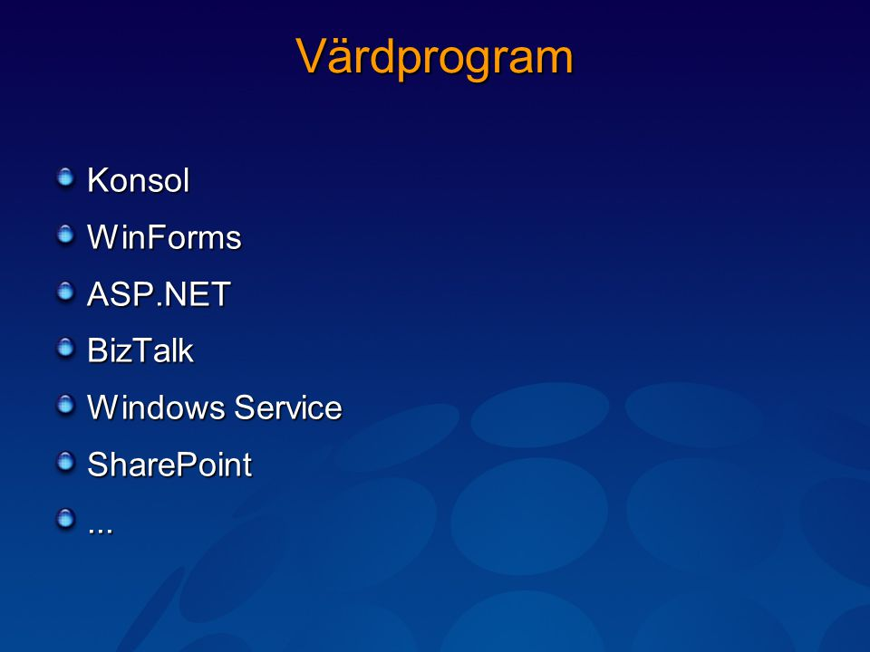 Värdprogram KonsolWinFormsASP.NETBizTalk Windows Service SharePoint...