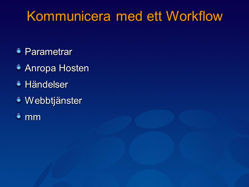 Kommunicera med ett Workflow Parametrar Anropa Hosten HändelserWebbtjänstermm