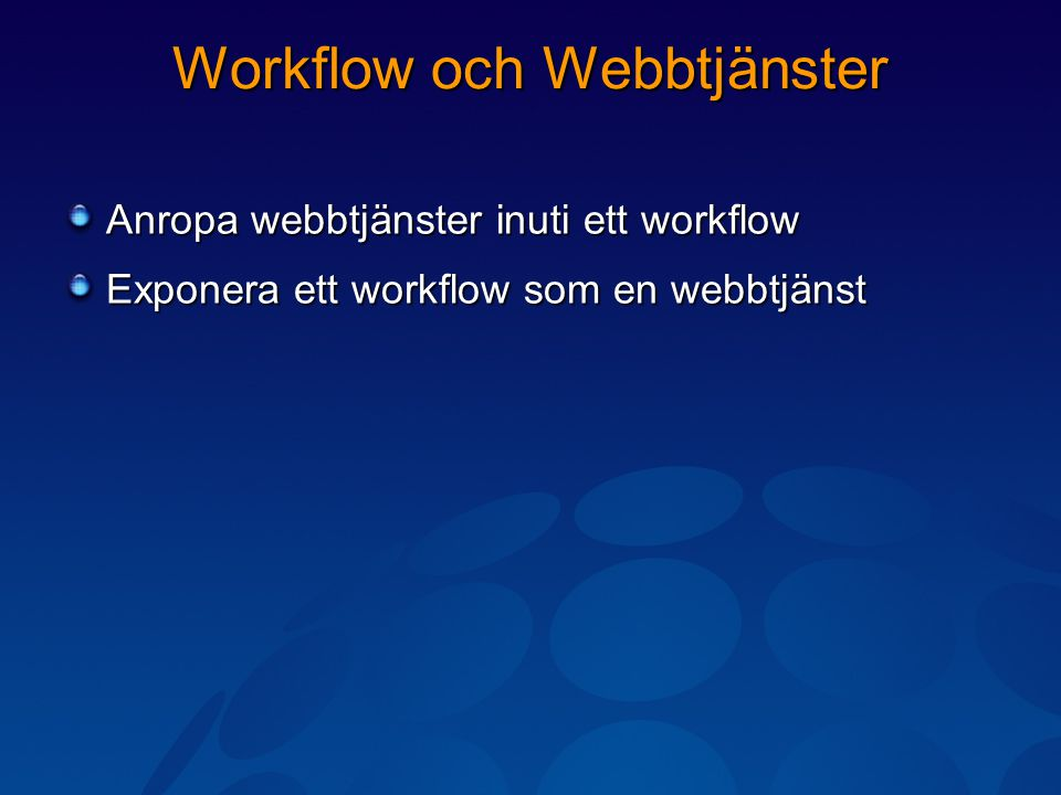 Workflow och Webbtjänster Anropa webbtjänster inuti ett workflow Exponera ett workflow som en webbtjänst