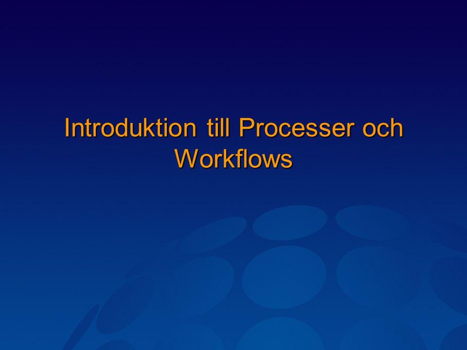 Windows Workflow Foundation WF ger möjlighet att skapa egna Workflows (arbetsflöden) Ett Workflow (arbetsflöde) består av en eller flera aktiviteter.