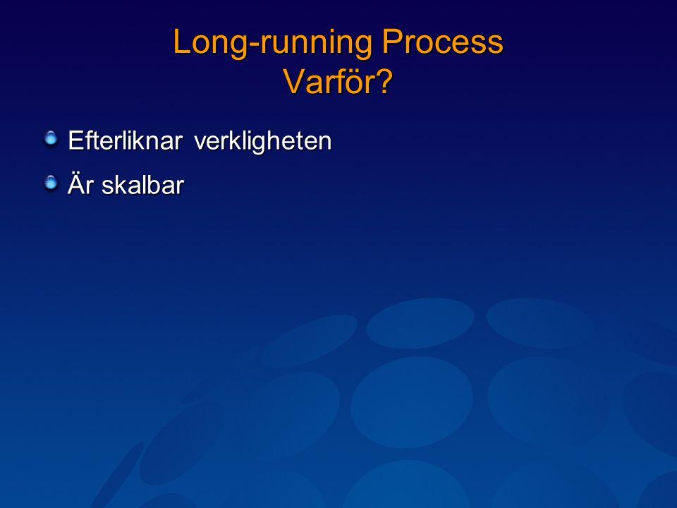 Long-running Process Varför? Efterliknar verkligheten Är skalbar