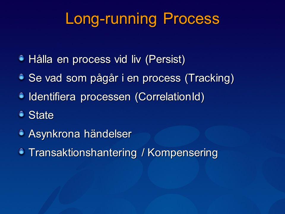 Long-running Process Hålla en process vid liv (Persist) Se vad som pågår i en process (Tracking) Identifiera processen (CorrelationId) State Asynkrona händelser Transaktionshantering / Kompensering