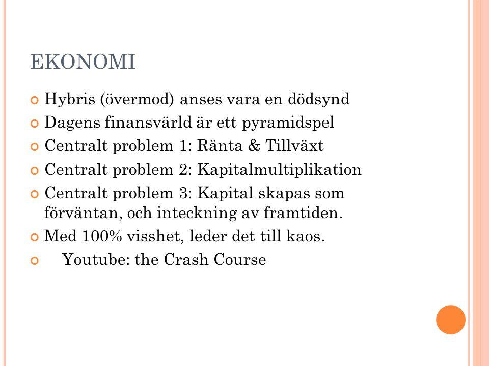 EKONOMI Hybris (övermod) anses vara en dödsynd Dagens finansvärld är ett pyramidspel Centralt problem 1: Ränta & Tillväxt Centralt problem 2: Kapitalm