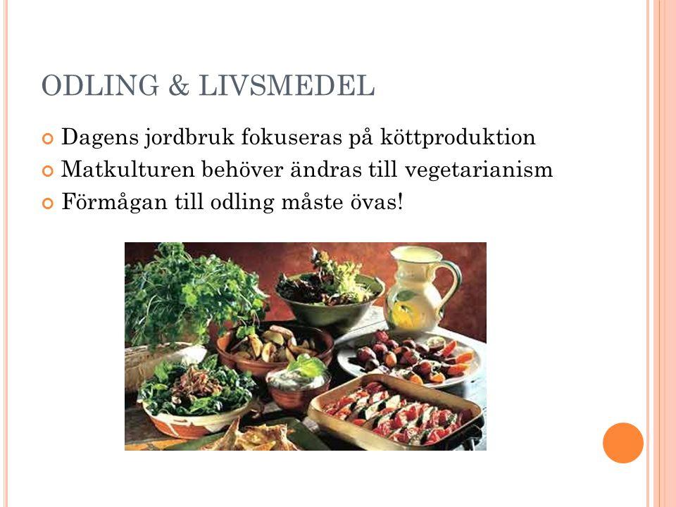 ODLING & LIVSMEDEL Dagens jordbruk fokuseras på köttproduktion Matkulturen behöver ändras till vegetarianism Förmågan till odling måste övas!