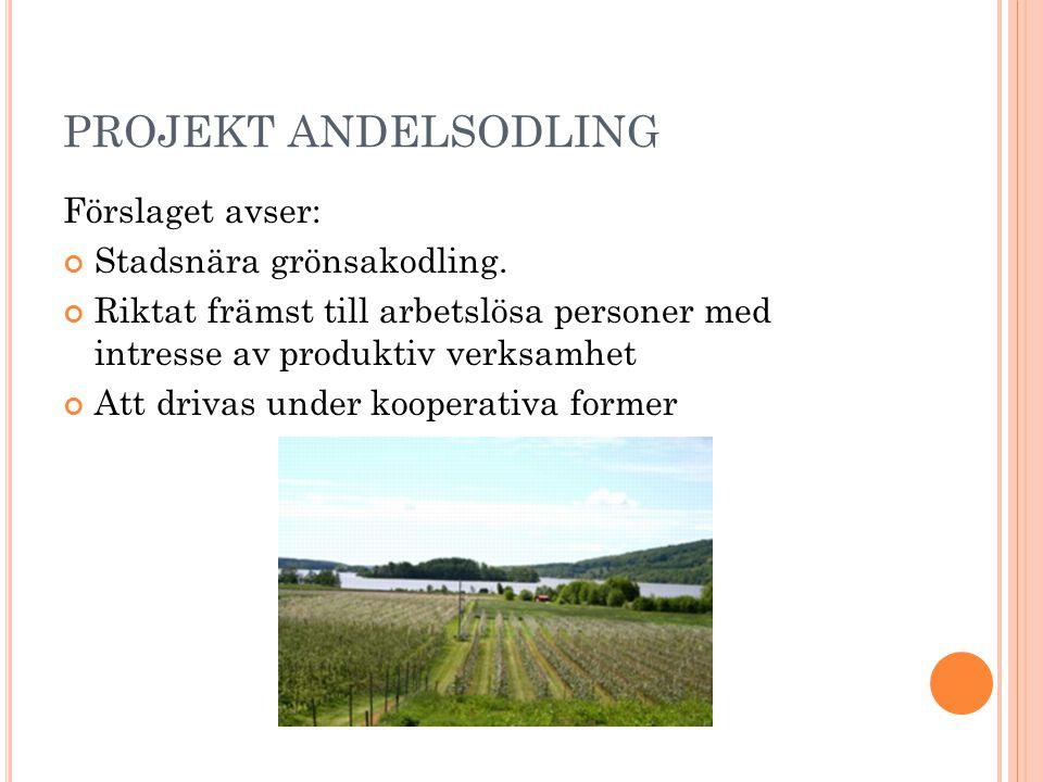 PROJEKT ANDELSODLING Förslaget avser: Stadsnära grönsakodling. Riktat främst till arbetslösa personer med intresse av produktiv verksamhet Att drivas