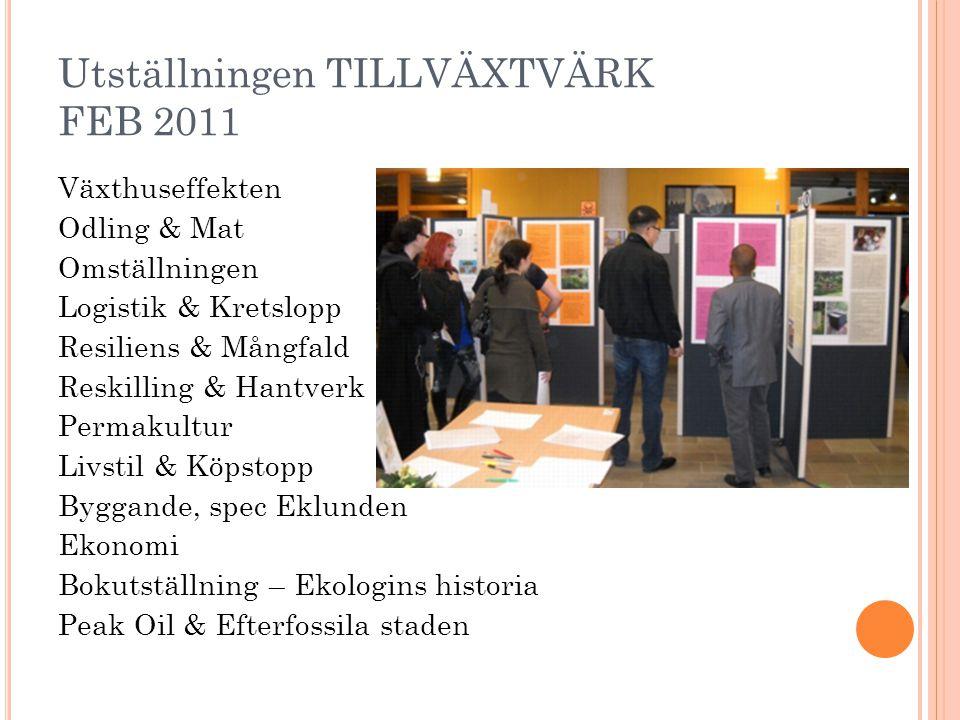 Utställningen TILLVÄXTVÄRK FEB 2011 Växthuseffekten Odling & Mat Omställningen Logistik & Kretslopp Resiliens & Mångfald Reskilling & Hantverk Permaku