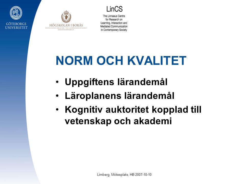NORM OCH KVALITET Uppgiftens lärandemål Läroplanens lärandemål Kognitiv auktoritet kopplad till vetenskap och akademi Limberg, Mötesplats, HB 2007-10-