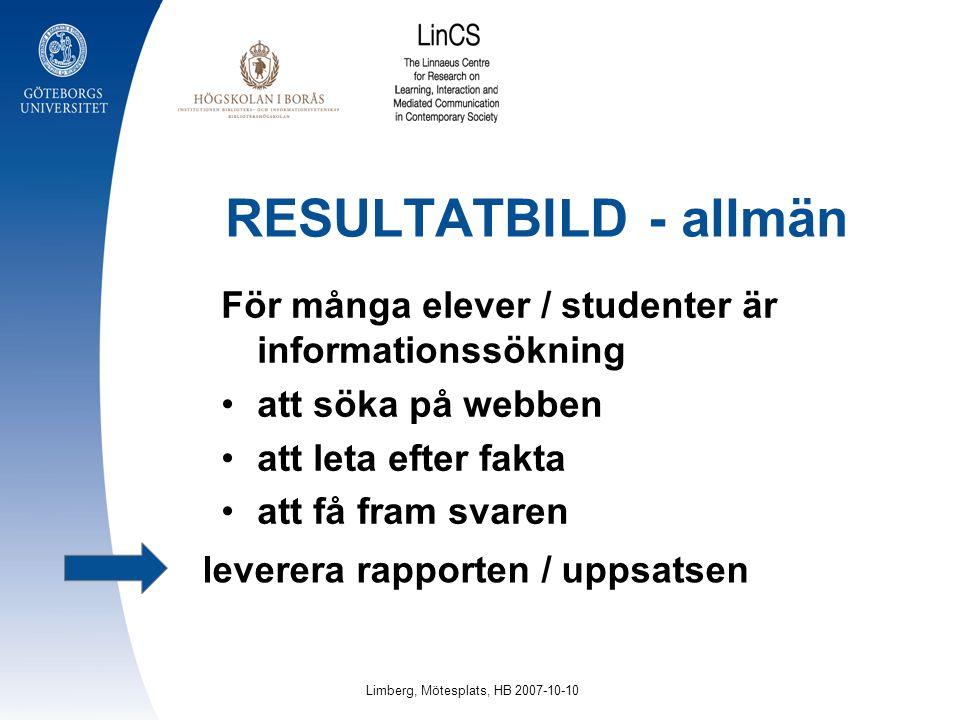 RESULTATBILD - allmän För många elever / studenter är informationssökning att söka på webben att leta efter fakta att få fram svaren leverera rapporte