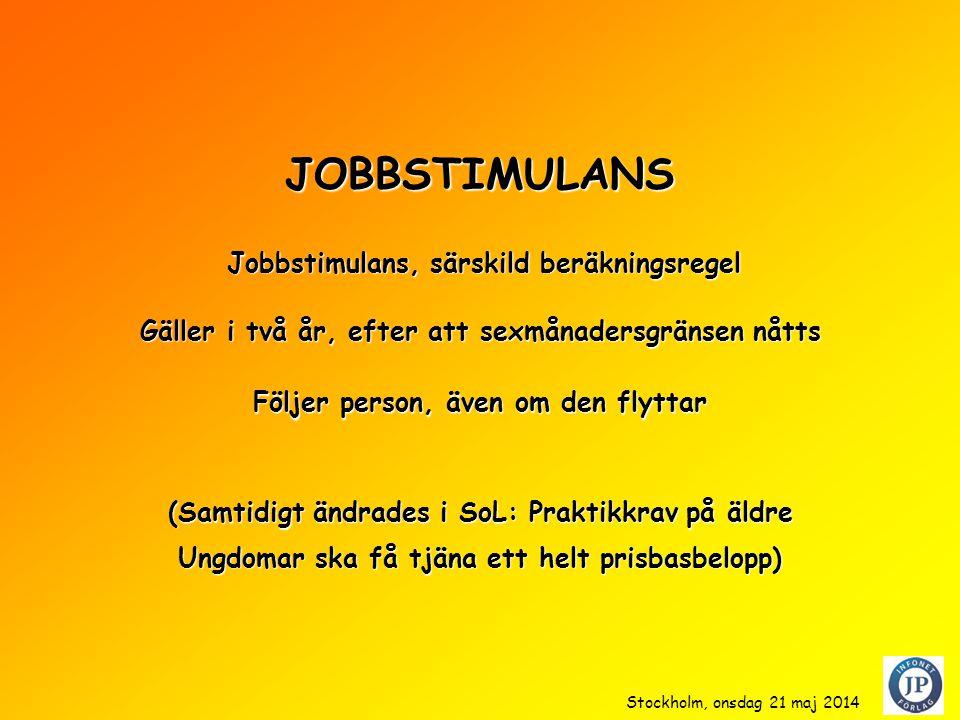 JOBBSTIMULANS (Samtidigt ändrades i SoL: Praktikkrav på äldre Ungdomar ska få tjäna ett helt prisbasbelopp) Jobbstimulans, särskild beräkningsregel Jobbstimulans, särskild beräkningsregel Gäller i två år, efter att sexmånadersgränsen nåtts Stockholm, onsdag 21 maj 2014 Följer person, även om den flyttar