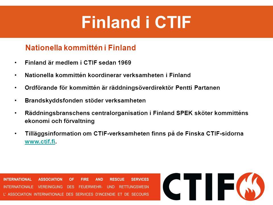 Finland i CTIF Nationella kommittén i Finland Finland är medlem i CTIF sedan 1969 Nationella kommittén koordinerar verksamheten i Finland Ordförande för kommittén är räddningsöverdirektör Pentti Partanen Brandskyddsfonden stöder verksamheten Räddningsbranschens centralorganisation i Finland SPEK sköter kommitténs ekonomi och förvaltning Tilläggsinformation om CTIF-verksamheten finns på de Finska CTIF-sidorna www.ctif.fi.