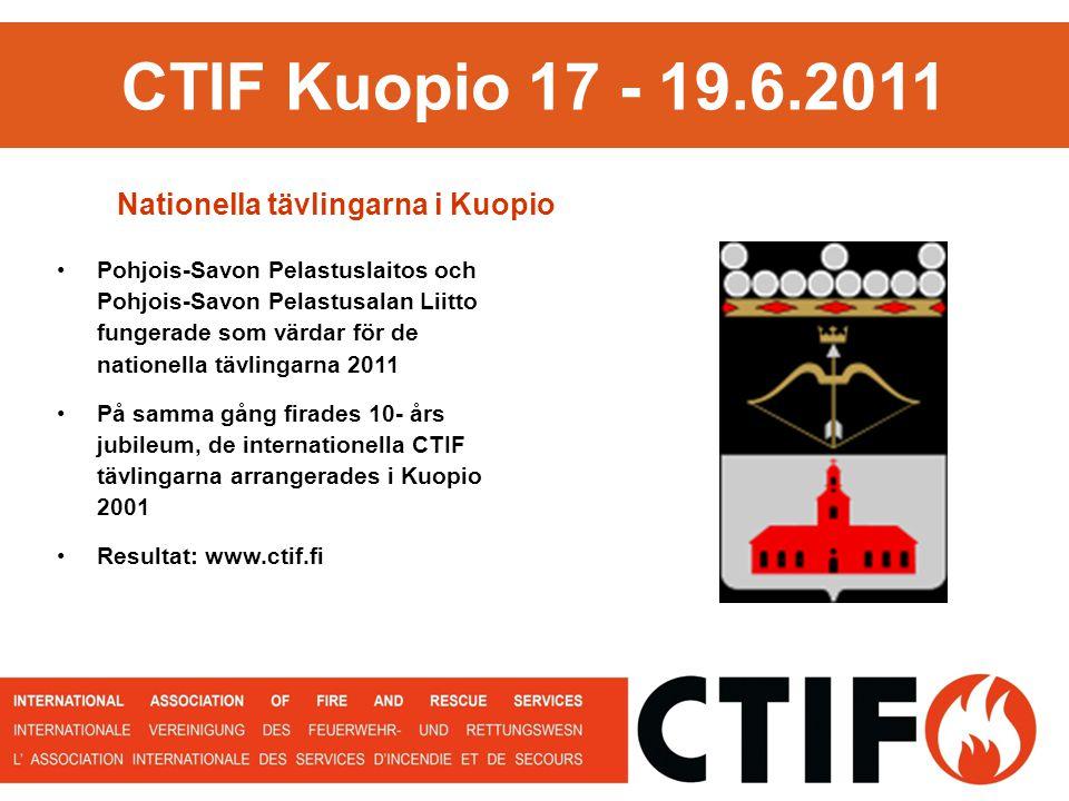 CTIF Kuopio 17 - 19.6.2011 Pohjois-Savon Pelastuslaitos och Pohjois-Savon Pelastusalan Liitto fungerade som värdar för de nationella tävlingarna 2011 På samma gång firades 10- års jubileum, de internationella CTIF tävlingarna arrangerades i Kuopio 2001 Resultat: www.ctif.fi Nationella tävlingarna i Kuopio
