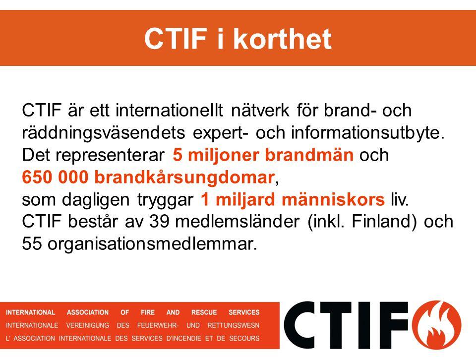 CTIF i korthet CTIF är ett internationellt nätverk för brand- och räddningsväsendets expert- och informationsutbyte.