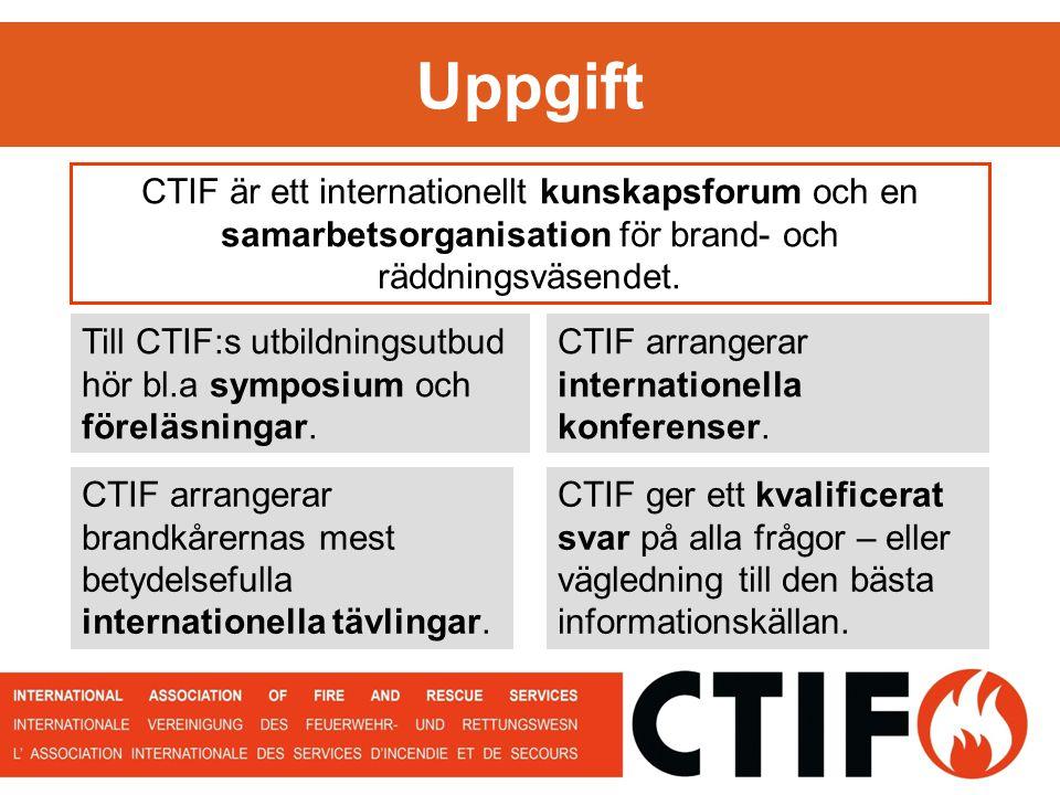 Uppgift CTIF är ett internationellt kunskapsforum och en samarbetsorganisation för brand- och räddningsväsendet.