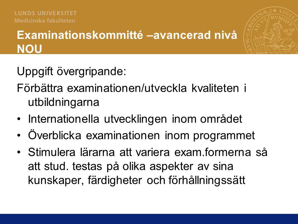 Examinationskommitté –avancerad nivå NOU Uppgift övergripande: Förbättra examinationen/utveckla kvaliteten i utbildningarna Internationella utveckling
