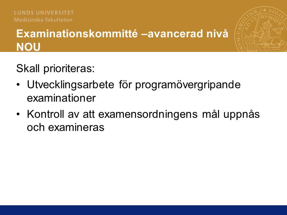 Examinationskommitté –avancerad nivå NOU Skall prioriteras: Utvecklingsarbete för programövergripande examinationer Kontroll av att examensordningens