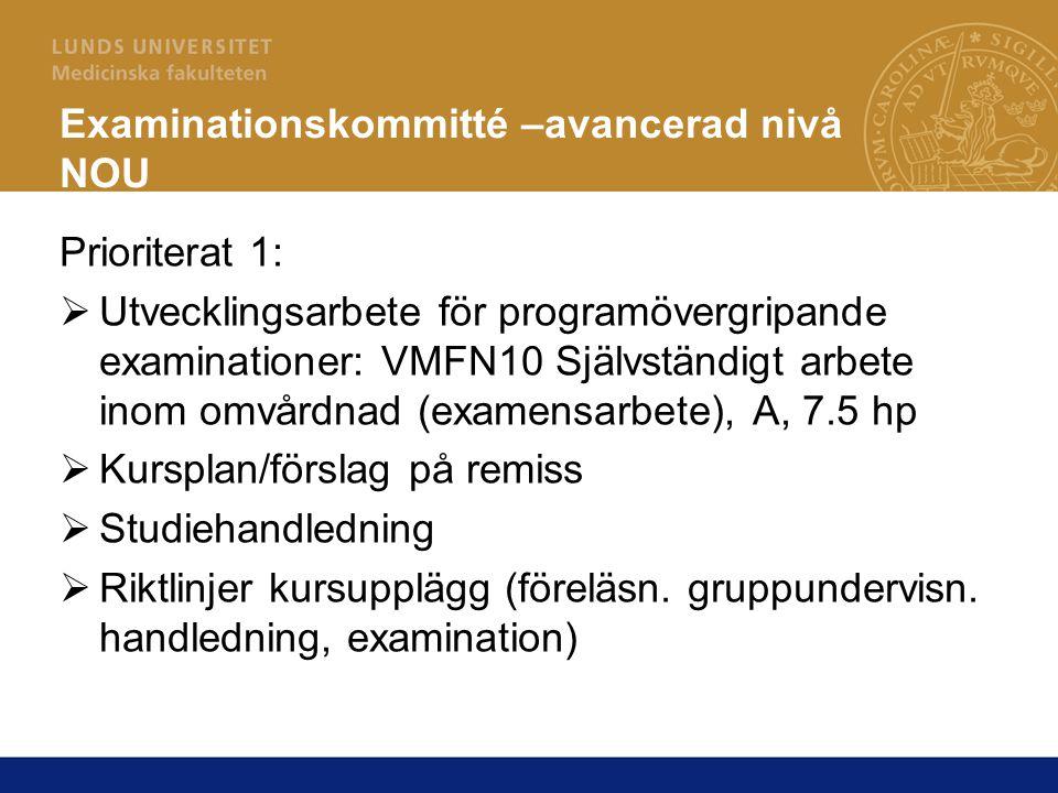 Examinationskommitté –avancerad nivå NOU Prioriterat 1:  Utvecklingsarbete för programövergripande examinationer: VMFN10 Självständigt arbete inom om