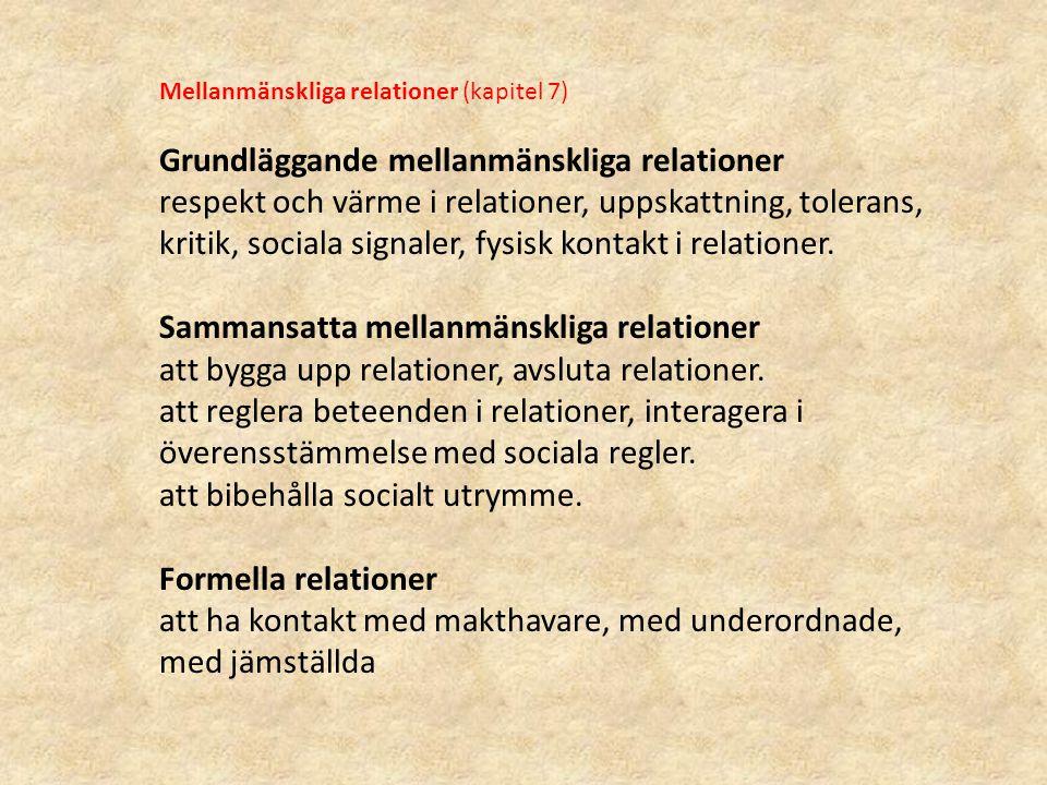 Mellanmänskliga relationer (kapitel 7) Grundläggande mellanmänskliga relationer respekt och värme i relationer, uppskattning, tolerans, kritik, social