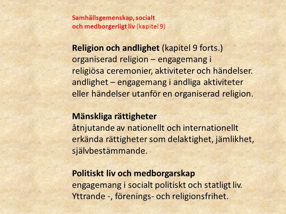 Samhällsgemenskap, socialt och medborgerligt liv (kapitel 9) Religion och andlighet (kapitel 9 forts.) organiserad religion – engagemang i religiösa c