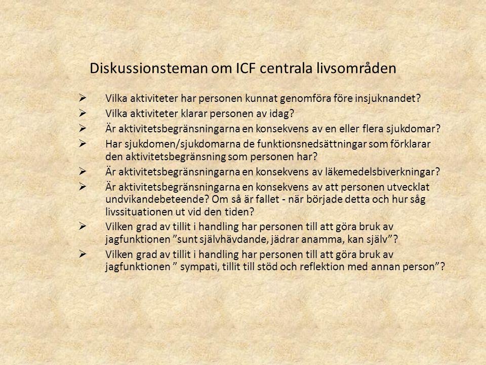 Diskussionsteman om ICF centrala livsområden  Vilka aktiviteter har personen kunnat genomföra före insjuknandet?  Vilka aktiviteter klarar personen