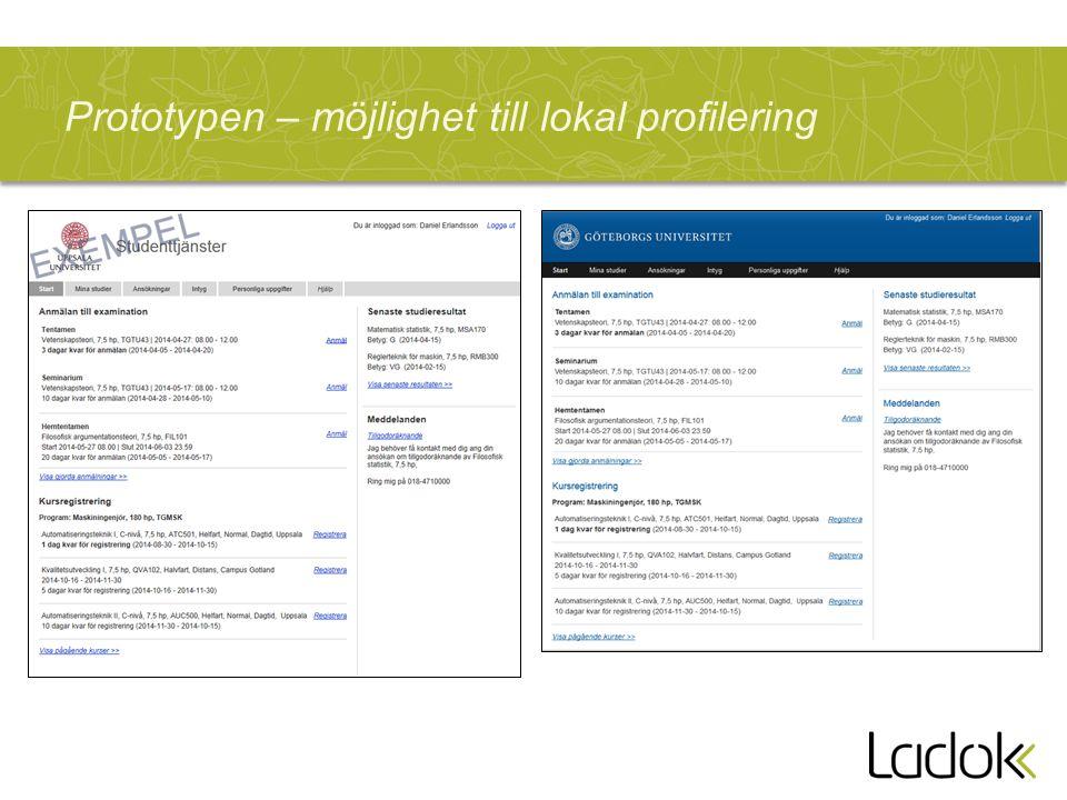 Prototypen – möjlighet till lokal profilering