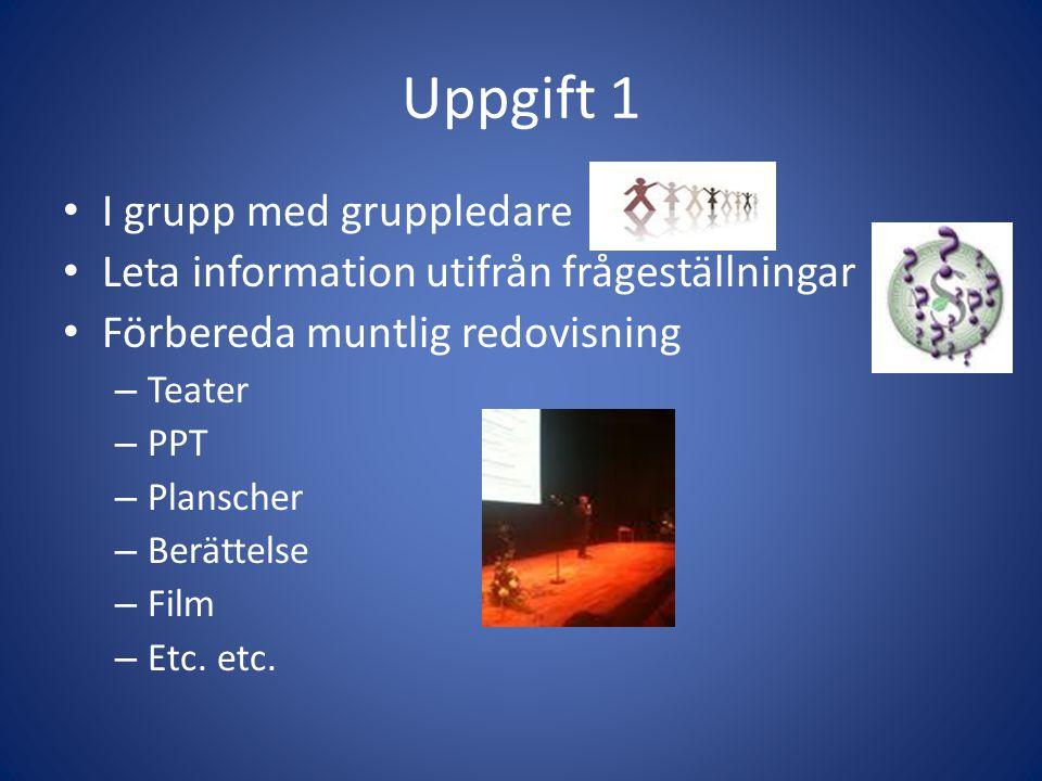 Uppgift 1 I grupp med gruppledare Leta information utifrån frågeställningar Förbereda muntlig redovisning – Teater – PPT – Planscher – Berättelse – Fi