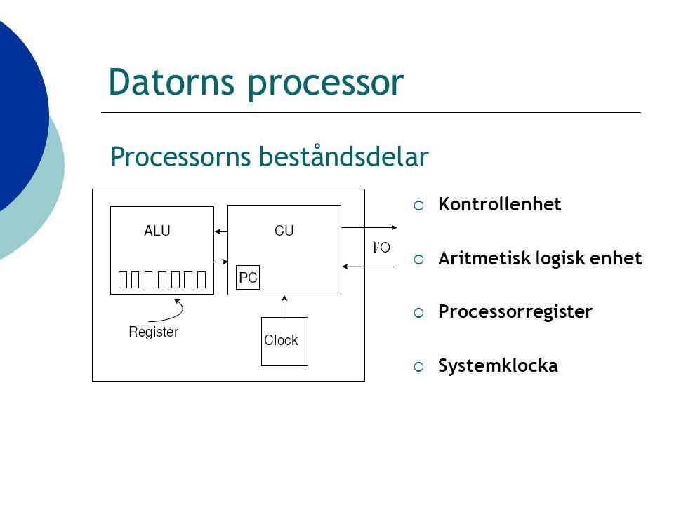 Datorns processor  Kontrollenhet  Aritmetisk logisk enhet  Processorregister  Systemklocka Processorns beståndsdelar