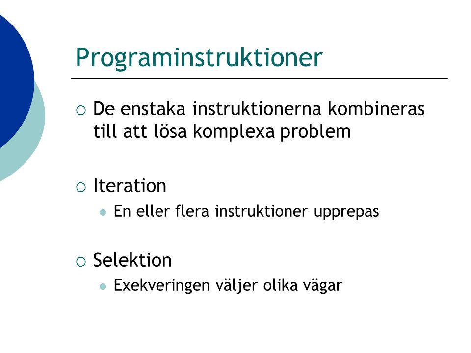 Programinstruktioner  De enstaka instruktionerna kombineras till att lösa komplexa problem  Iteration En eller flera instruktioner upprepas  Selektion Exekveringen väljer olika vägar