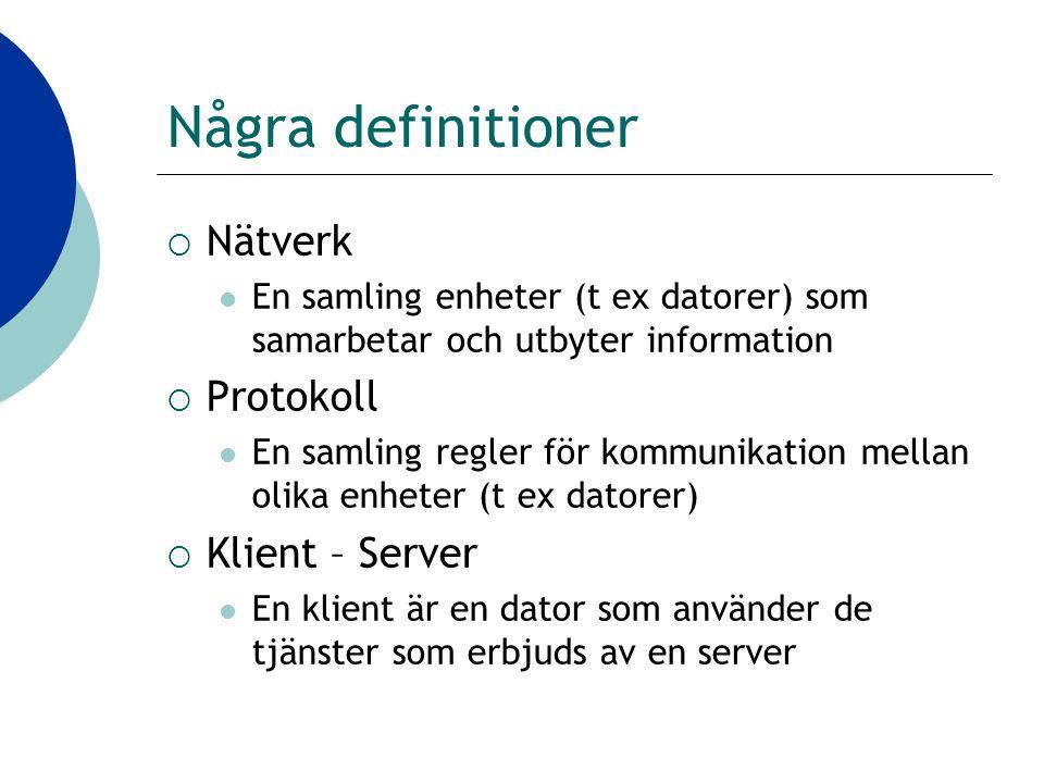 Några definitioner  Nätverk En samling enheter (t ex datorer) som samarbetar och utbyter information  Protokoll En samling regler för kommunikation mellan olika enheter (t ex datorer)  Klient – Server En klient är en dator som använder de tjänster som erbjuds av en server
