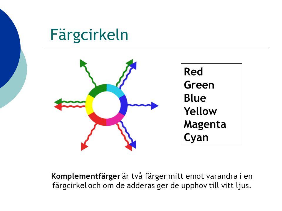 Färgcirkeln Komplementfärger är två färger mitt emot varandra i en färgcirkel och om de adderas ger de upphov till vitt ljus.