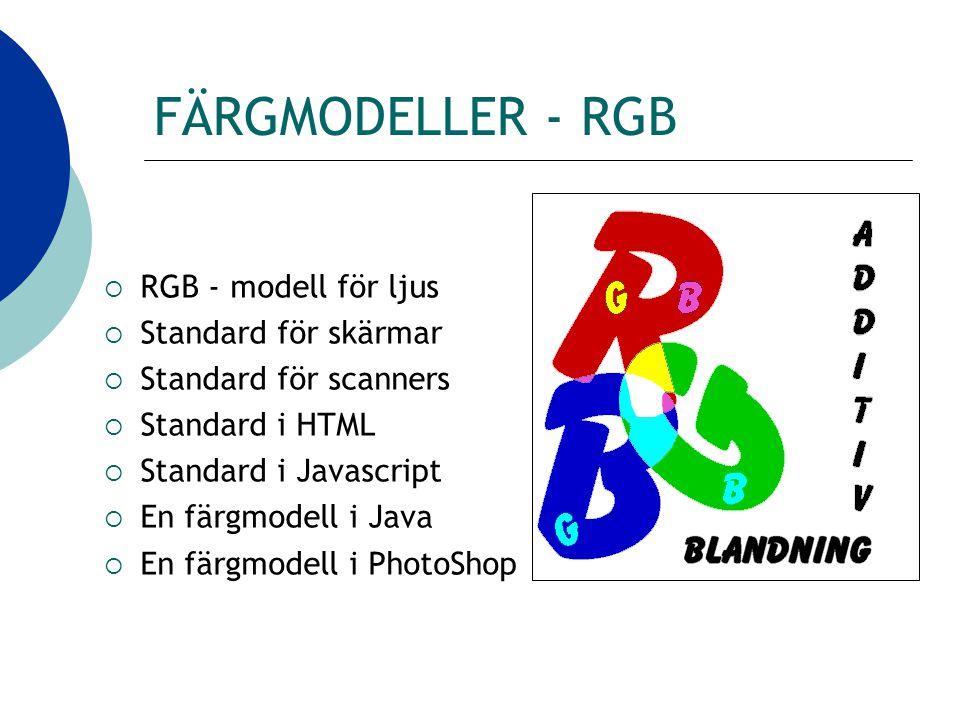 FÄRGMODELLER - RGB  RGB - modell för ljus  Standard för skärmar  Standard för scanners  Standard i HTML  Standard i Javascript  En färgmodell i Java  En färgmodell i PhotoShop