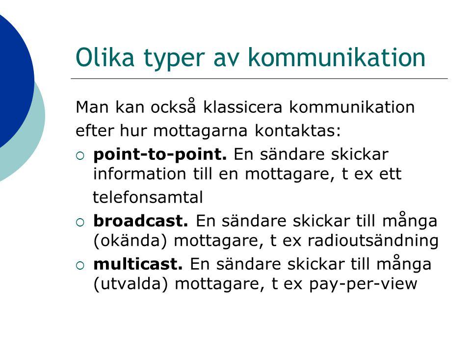 Olika typer av kommunikation Man kan också klassicera kommunikation efter hur mottagarna kontaktas:  point-to-point.