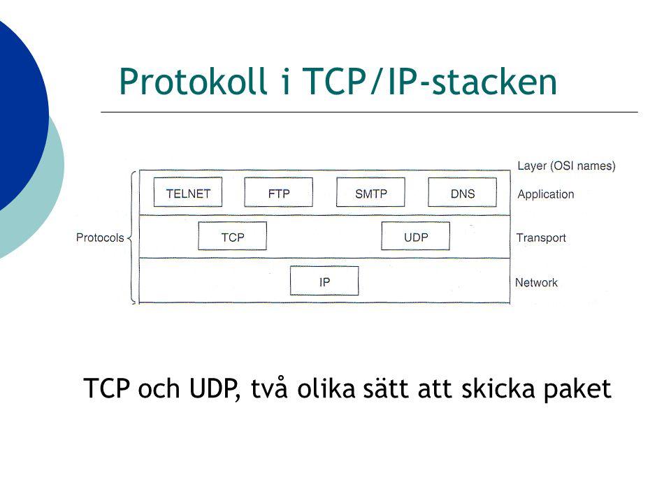 Protokoll i TCP/IP-stacken TCP och UDP, två olika sätt att skicka paket