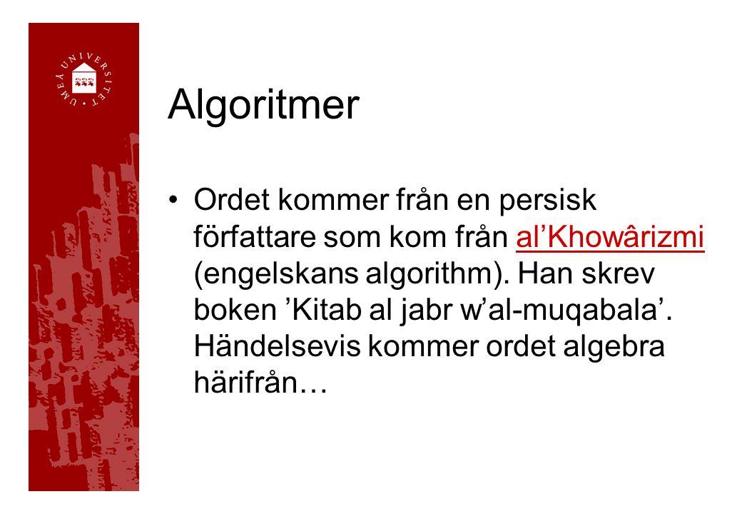 Ordet kommer från en persisk författare som kom från al'Khowârizmi (engelskans algorithm). Han skrev boken 'Kitab al jabr w'al-muqabala'. Händelsevis