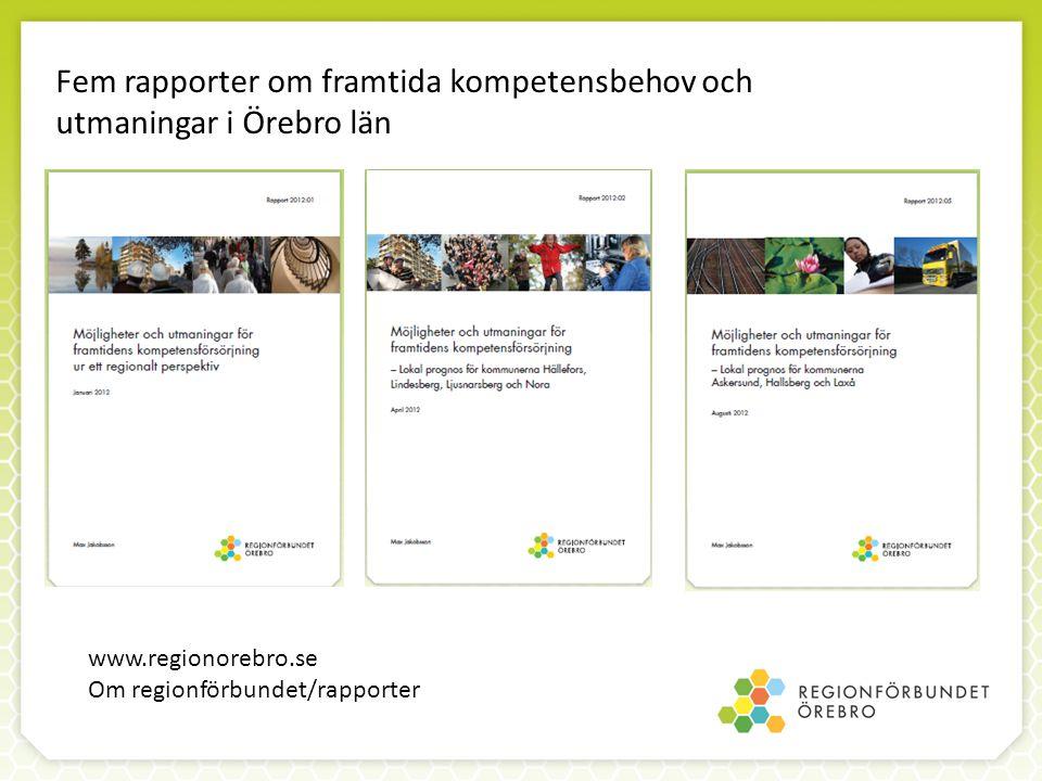 Fem rapporter om framtida kompetensbehov och utmaningar i Örebro län www.regionorebro.se Om regionförbundet/rapporter