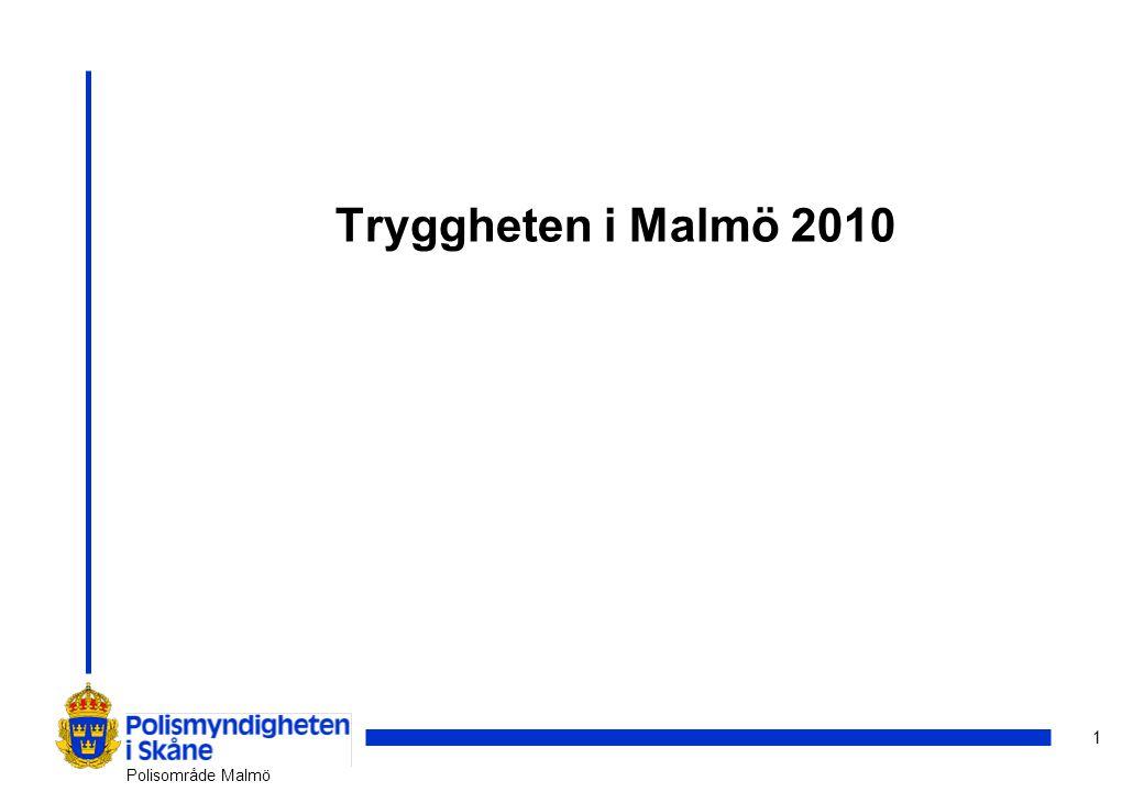 12 Polisområde Malmö Gemensamma insatser (i urval) Fem Fokus för ökad trygghet Kvinnofridsprogrammet - Koncept Karin Trygg krog Områdesprogram för socialt hållbar utveckling Dialogmöte - Malmömodellen Gatukontorets trygghetsprogram –Hej stadsdel –Trygghetsvandringar SSP - Skola, socialtjänst och polis (Lokalt brotts- och drogförebyggande arbete) Problemorienterad polisinsats på Sevedsplan, i samverkan med stadsdelen