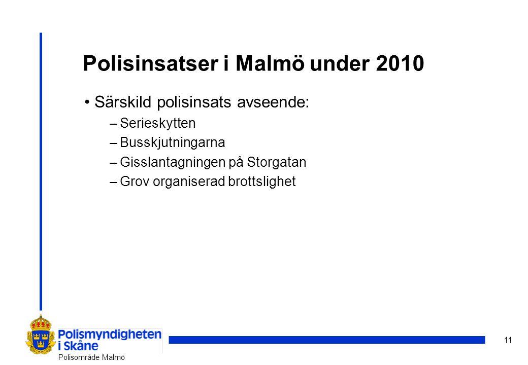 11 Polisområde Malmö Polisinsatser i Malmö under 2010 Särskild polisinsats avseende: –Serieskytten –Busskjutningarna –Gisslantagningen på Storgatan –Grov organiserad brottslighet