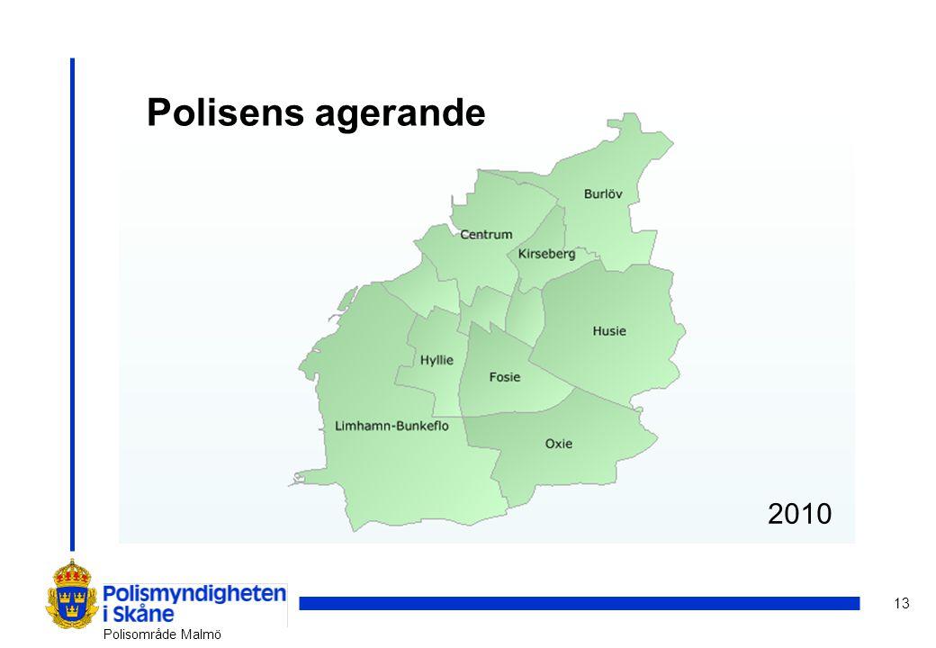 13 Polisområde Malmö 2007200820092010 Polisens agerande