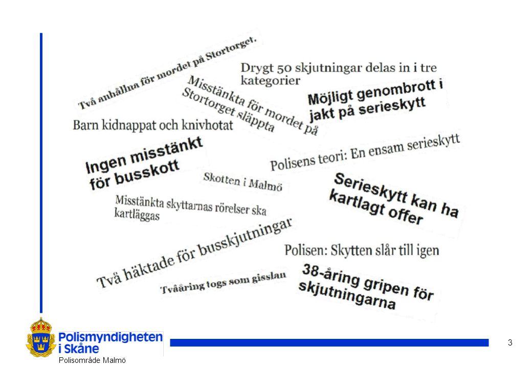 14 Polisområde Malmö Totala trygghetsbilden 2010 Utsattheten för brottOro att utsättas för brott Avstått från aktivitetPolisens agerande Upplevda otryggheten Upplevda problem