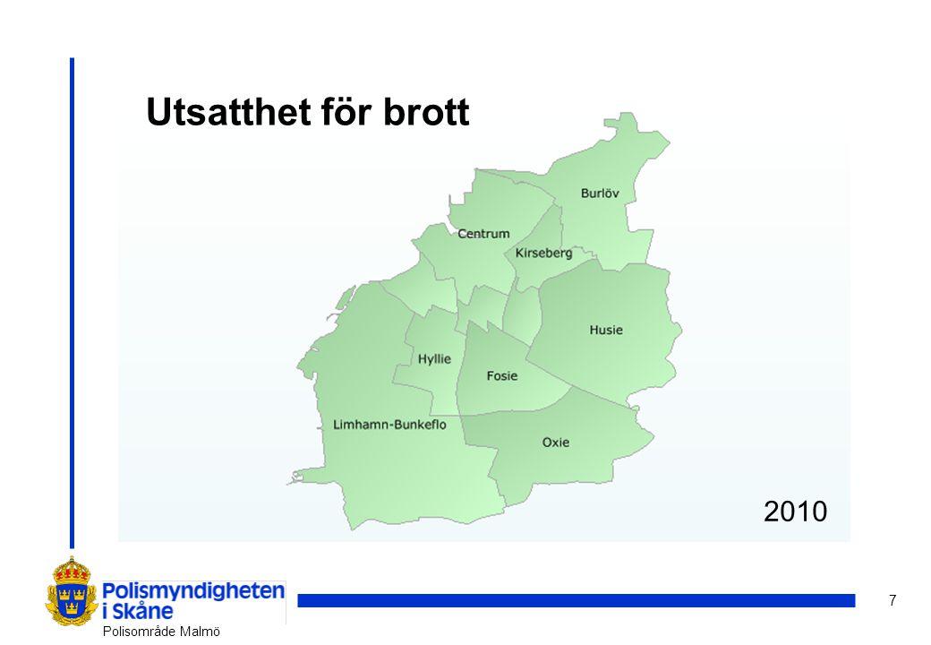 8 Polisområde Malmö 2007200820092010 Oro att utsättas för brott