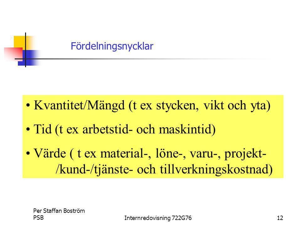 Per Staffan Boström PSBInternredovisning 722G7612 Kvantitet/Mängd (t ex stycken, vikt och yta) Tid (t ex arbetstid- och maskintid) Värde ( t ex material-, löne-, varu-, projekt- /kund-/tjänste- och tillverkningskostnad) Fördelningsnycklar