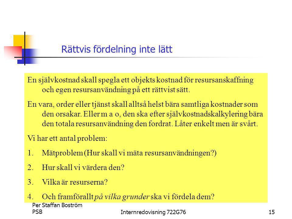 Per Staffan Boström PSBInternredovisning 722G7615 En självkostnad skall spegla ett objekts kostnad för resursanskaffning och egen resursanvändning på ett rättvist sätt.