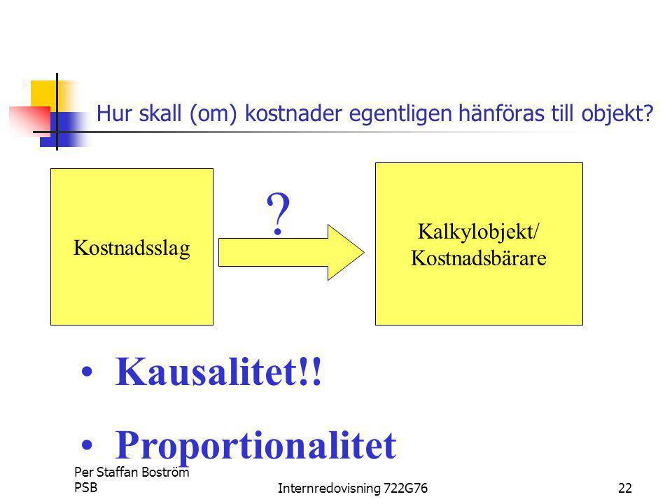 Per Staffan Boström PSBInternredovisning 722G7622 Hur skall (om) kostnader egentligen hänföras till objekt.