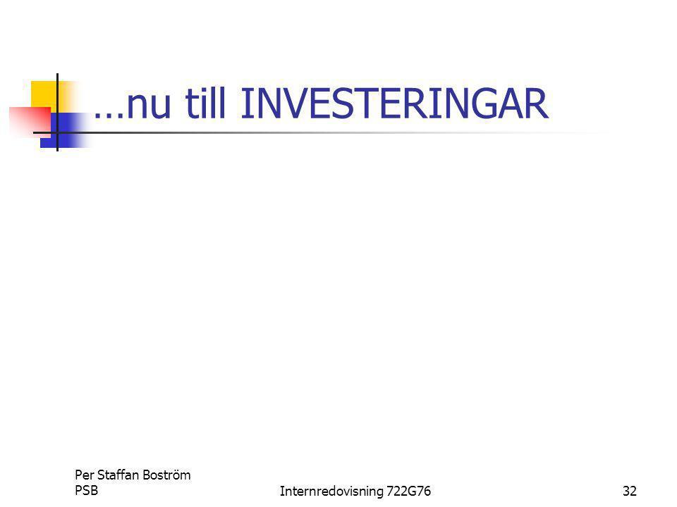 Per Staffan Boström PSBInternredovisning 722G7632 …nu till INVESTERINGAR