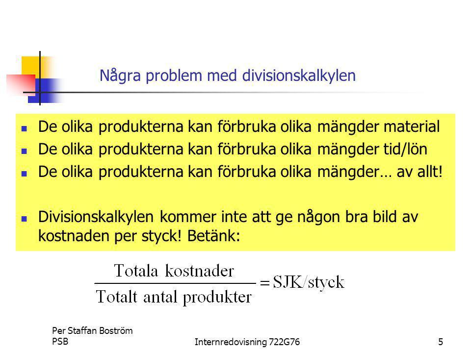 Per Staffan Boström PSBInternredovisning 722G7616 Ett mindre företag som tillverkar larm och larmskåp framställer 1.Larmskåp 1000 st/år 2.Lägenhetslarm 7000 st/år Från företagets redovisningssystem hittar vi följande kostnader Direkt Materialkostnad skåp150:-/st Direkt Materialkostnad larm 50:-/st Övriga omkostnader (gemensamma)500 000:- Ett enkelt (men dåligt) exempel