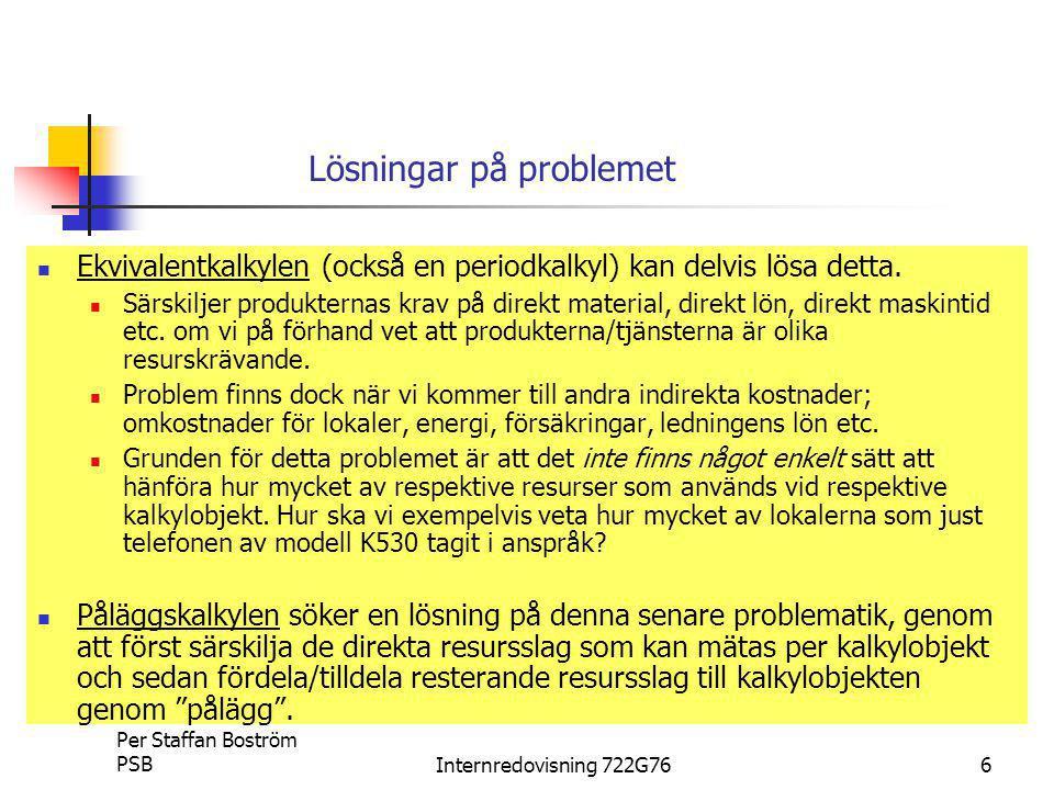Per Staffan Boström PSBInternredovisning 722G7617 Divisionskalkyl 500000 + 1000*150 + 7000*50 (1000+7000) Kontroll: 1000*125 + 7000*125 – 500000-1000*150-7000*50=0 = Genomsnittlig SjK 125:-/st
