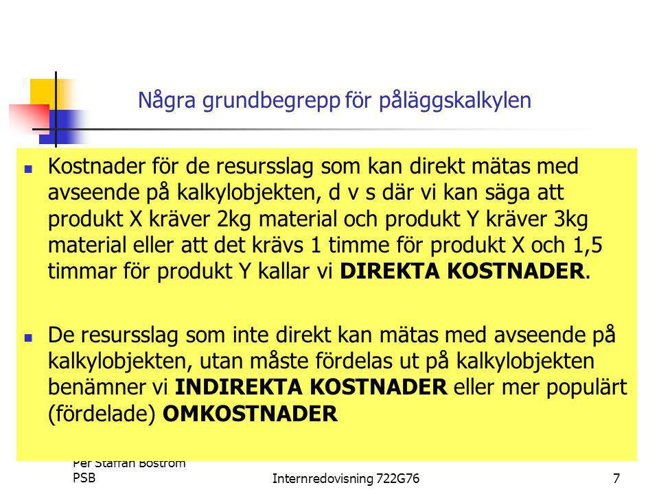Per Staffan Boström PSBInternredovisning 722G7638 Övning INVESTERING Pay-back metoden (Övning 12:3) Nuvärdemetoden (Övning 12:5) Diskontering av a) (tabell C eller B) Diskontering av restvärde (tabell B)
