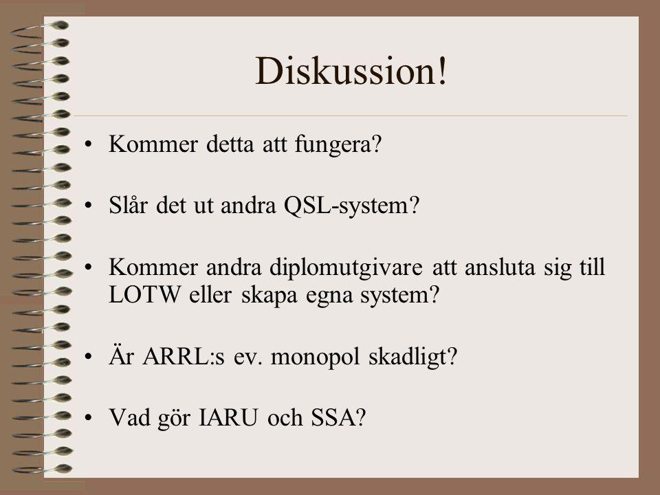 Diskussion. Kommer detta att fungera. Slår det ut andra QSL-system.