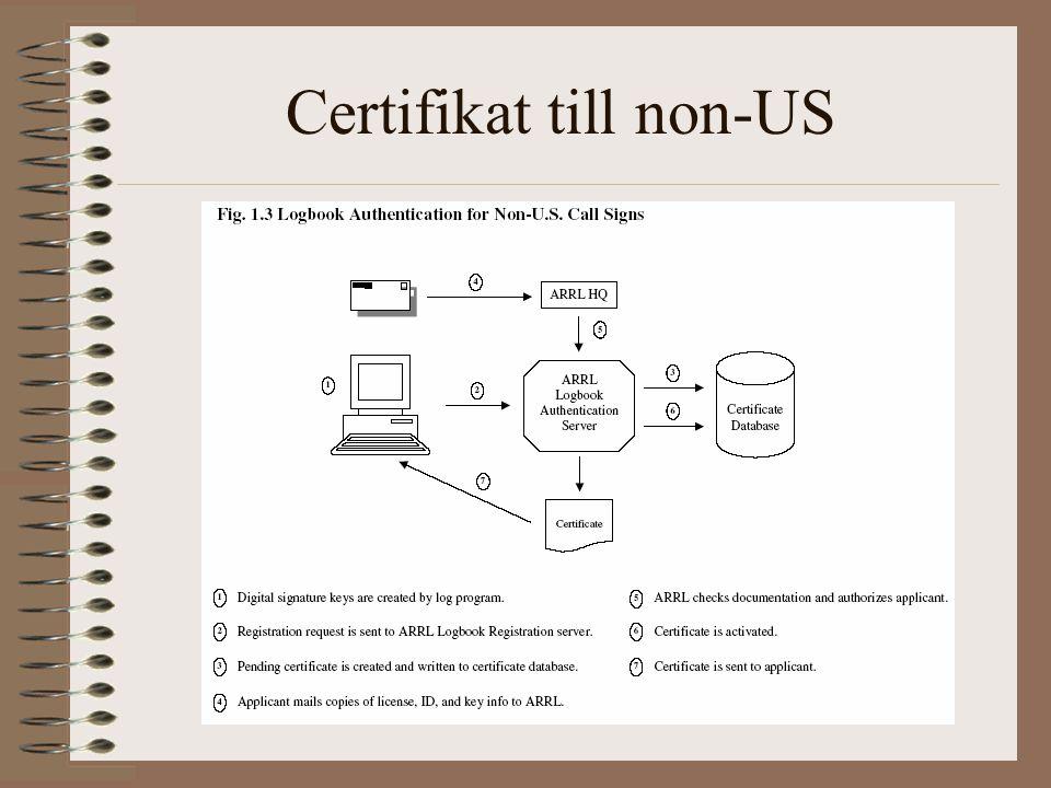 Certifikat till non-US