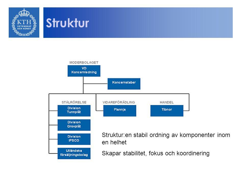 Struktur Struktur:en stabil ordning av komponenter inom en helhet Skapar stabilitet, fokus och koordinering